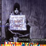 "Banksy image of 'beggar' with banner saying ""I want change!"""
