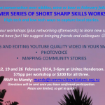 A Summer Series of Short Sharp Skills Workshops – in Auckland in February