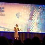 Amy Sample-Ward on stage, opening the 2014 Nonprofit Technology Conference