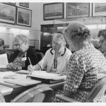 Eleanor Roosevelt with others at Commission on the Status of Women meeting, 1962